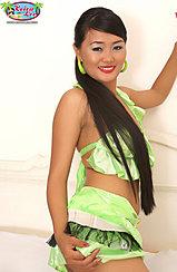 Keira Lee Looking Back Long Hair Hand On Skirt