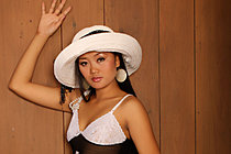 Beauty Keira Lee strips summer hat and sheer black dress
