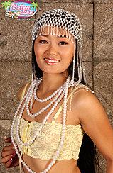 Wearing Beads Around Her Neck In Yellow Bra