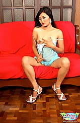 Baring Small Breasts Legs Spread White High Heels