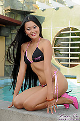 Keira Lee Kneeling Long Hair Black Bikini Pink High Heels