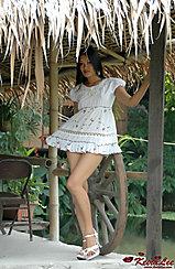 Filipina Keira Lee Wearing White Dress In High Heels