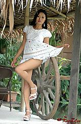 Pulling Dress Leg Raised In High Heels