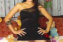 Long Haired Filipina Babe Keira Lee Strips Little Black Dress
