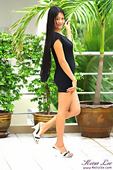 In Profile Long Hair In Dress High Heels
