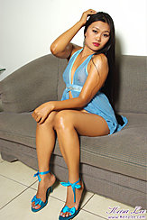 Keira Lee Sitting On Sofa Long Hair Wearing Babydoll In High Heels