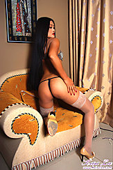 Kneeling On Chair Long Hair Down Her Back Thong Panties Round Ass High Heels