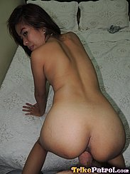 On Her Knees On Bed Fucked In Doggy Style Position Looking Over Her Shoulder