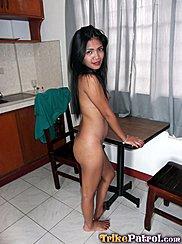 Standing Naked Beside Table Long Hair Down Her Back Bare Feet