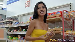 Zulaica Out Shopping In Store Long Hair Down Her Back Wearing Yellow Top