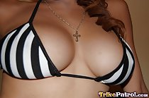 Amanda big breasts in bikini top necklace dangling between her tits