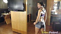 Natasha Looking Over Her Shoulder Wearing Denim Shorts
