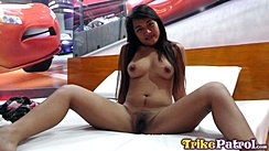 Jhane Seated Nude On Bed Long Hair Legs Spread Showing Her Pussy