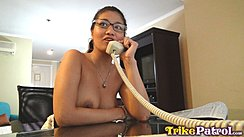 Natasha Seated At Table Topless Using Telephone Wearing Necklace In Glasses