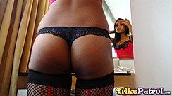 Wearing Black Panties In Fishnet Stockings