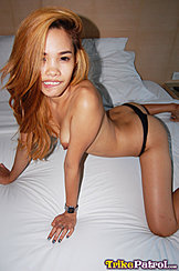 On All Fours On Bed Topless In Black Panies