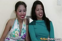 Filipinas Tia and Weng picked up on road for lesbian threesome